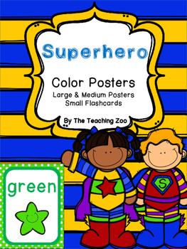 Superhero Theme Color Identification Posters