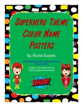 Superhero Theme Color Name Posters