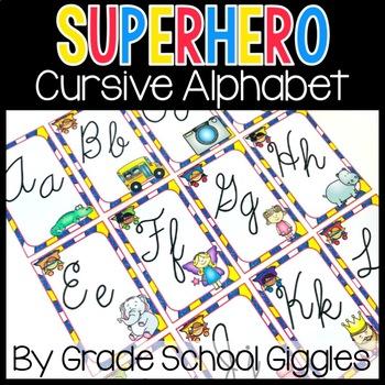 Superhero Theme Cursive Alphabet