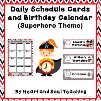 Superhero Theme Daily Class Schedule Cards and Birthday Calendar