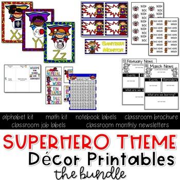Superhero Theme Décor Printables THE BUNDLE