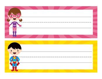 Superhero Theme Desk Name Plates