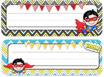 Superhero Theme Desk Tags and Name Plates {Editable}