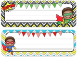Superhero Theme Desk Tags and Name Plates {Editable}