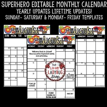Superhero Classroom Theme Editable Calendar 2018-2019 Templates Lifetime Update