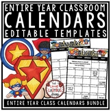 Superhero Theme- Editable Calendar 2017-2018 Templates- Li