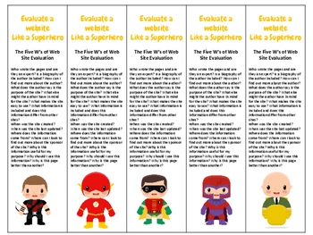 Superhero Theme Evaluate a website like a Superhero bookmarks 30 different