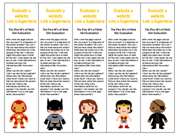 Superhero Theme Evaluate a website like a Superhero bookma