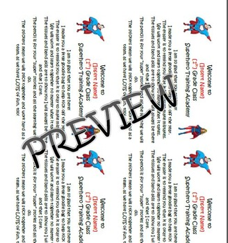 Superhero Theme - First Day of School Goody Bag Label - Po