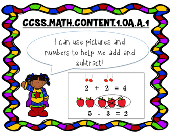 Common Core Math Standards Posters Grade 1 (Superhero Theme)