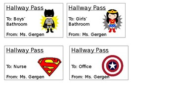 Superhero Theme Hallway Passes