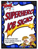 Superhero Theme Jobs Signs *editable*