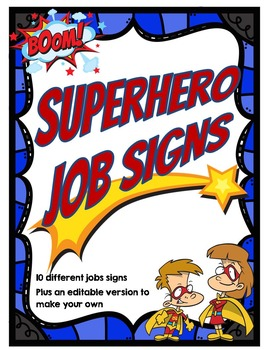 Superhero Theme Jobs Signs *editable*