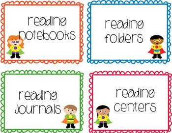 Superhero Theme Classroom Library & Supply Labels