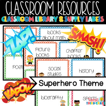 Superhero Theme Classroom Library & Supply Labels *GROWING*