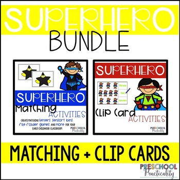 Superhero Theme Match and Clip Card Bundle for Toddlers, Preschool, and PreK