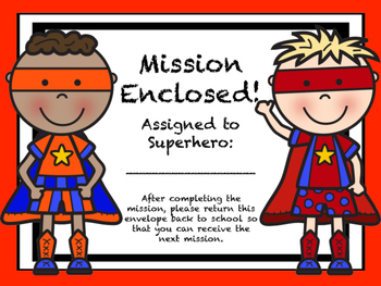 Superhero Theme: Mission Envelopes