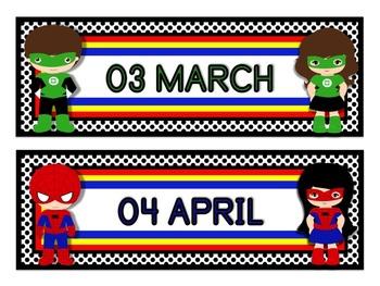 "Superhero Classroom Theme Calendar Months in White (11""x17"")"