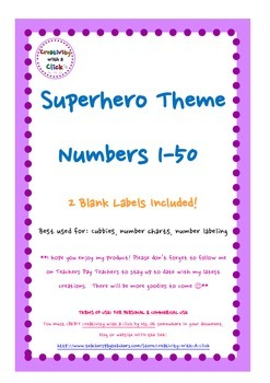 Superhero Theme Number Labels 1-50 (Blue & Orange)