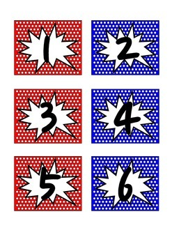 Superhero Theme Number Labels 1-50 (Red & Blue)