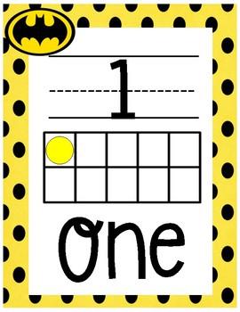 Superhero Theme Number Posters 0-20