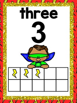 Superhero Theme Number Posters 0-20 - 4 sets