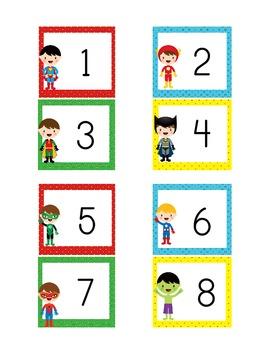 Superhero Theme Numbered Calendar Cards