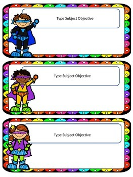 Superhero Theme: Objective Cards with Editable template