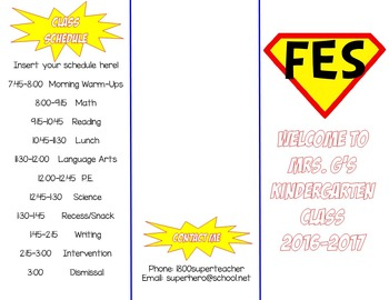 Superhero Theme Open House Parent Flyer - EDITABLE