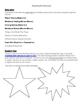 Superhero Theme Preparing Your Classroom