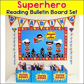 Superhero Theme Reading Bulletin Board Classroom Decor
