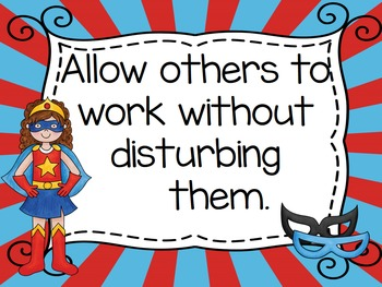 Superhero Theme Rules Posters for Big Kids - Editable