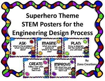Superhero Theme Stem Posters For Engineering Design Process By Zona Creations