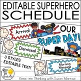 Superhero Schedule Cards - Editable!: Superhero Classroom Decor