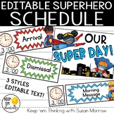 Superhero Schedule Cards - Editable!: Superhero Theme Clas