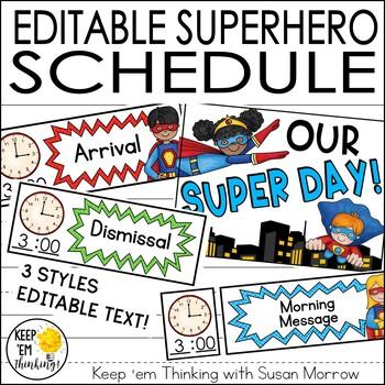 Superhero Theme Schedule Cards - Editable! Superhero Theme