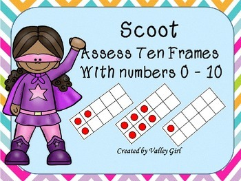 Superhero Theme: Scoot to assess ten frames with numerals 0 to 10