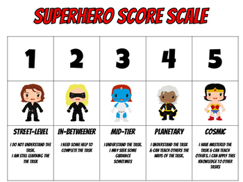 Superhero Theme Scoring Rubric Scale Mini Posters 1-4 scale and 1-5 scale