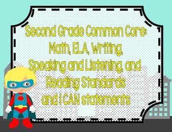 Superhero Theme *Second Grade Common Core/I CAN Posters