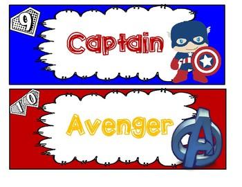 Superhero Theme Behavior Chart (Avengers)