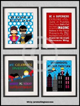 Superhero Theme Classroom Decor Inspirational Posters 8x10 16x20