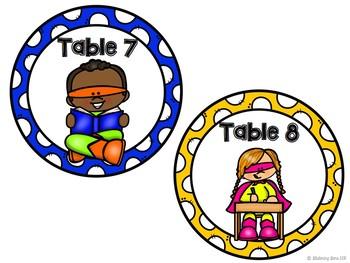 Superhero Theme Table Numbers - Superhero Theme Classroom Decor