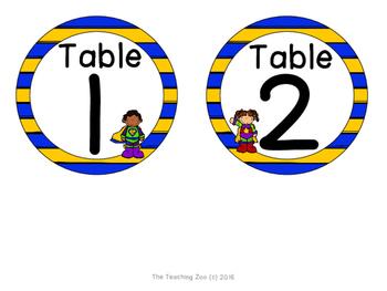 Superhero Theme Table Numbers