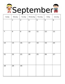 Superhero Theme Teacher Calendar and Calendar Wall Dates