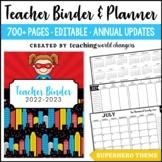 Editable Superhero Teacher Binder & Planner