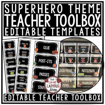 Superhero Theme Teacher Toolbox Labels EDITABLE- Back to School Classroom