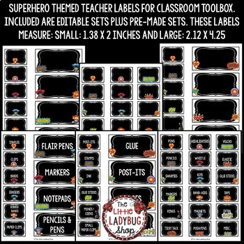 Teacher Toolbox Labels EDITABLE- Back to School Superhero Theme