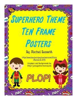 Superhero Theme Ten Frame Posters