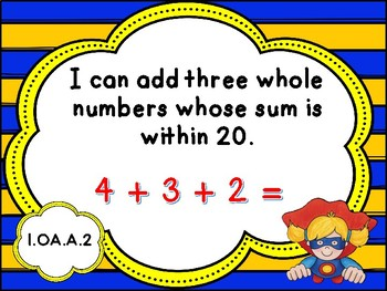 Superhero Theme Tennessee Grade 1 Math I Can Statements - New Standards 2017