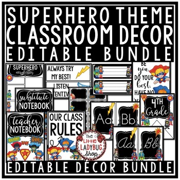 Back to School Superhero Theme Gift Tags & Welcome Note for Students EDITABLE